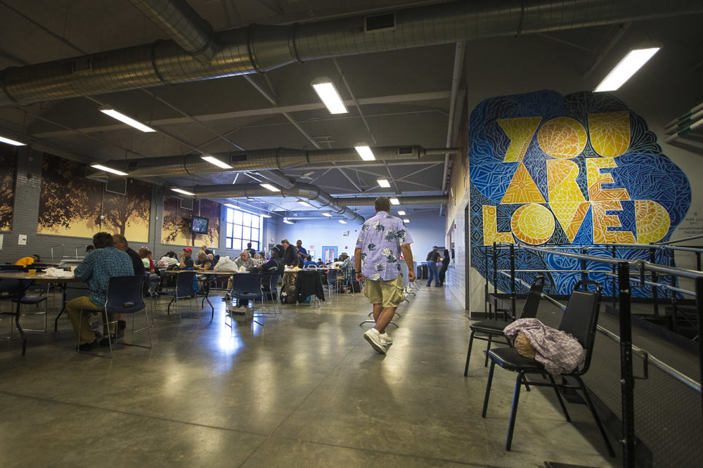 The cafeteria at the Southampton Street shelter (Jesse Costa/WBUR)