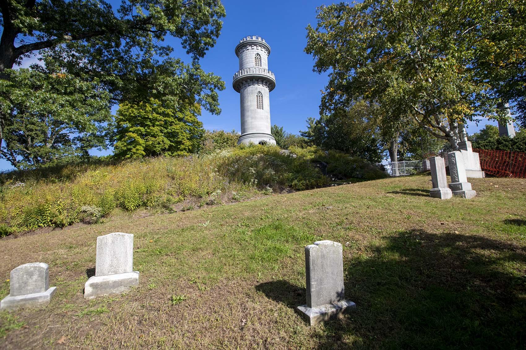 The Washington Tower atop Mount Auburn in Mount Auburn Cemetery. (Jesse Costa/WBUR)