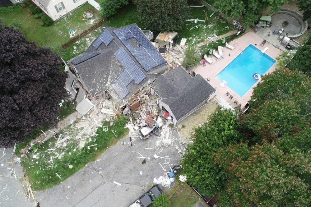 An aerial view of the damaged home in Lawrence where 18-year-old Leonel Rondon was killed due to the gas explosions. (Courtesy National Transportation Safety Board)