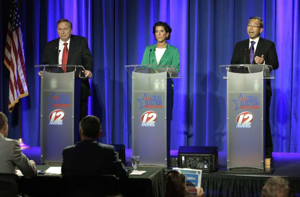 Rhode Island gubernatorial candidates, from left, former state Rep. Joseph Trillo, who is running as an independent, Democratic Gov. Gina Raimondo, and Republican Cranston Mayor Allan Fung, participate in a televised debate, Thursday, Sept. 27, 2018, in Bristol, R.I. (Steven Senne/AP)