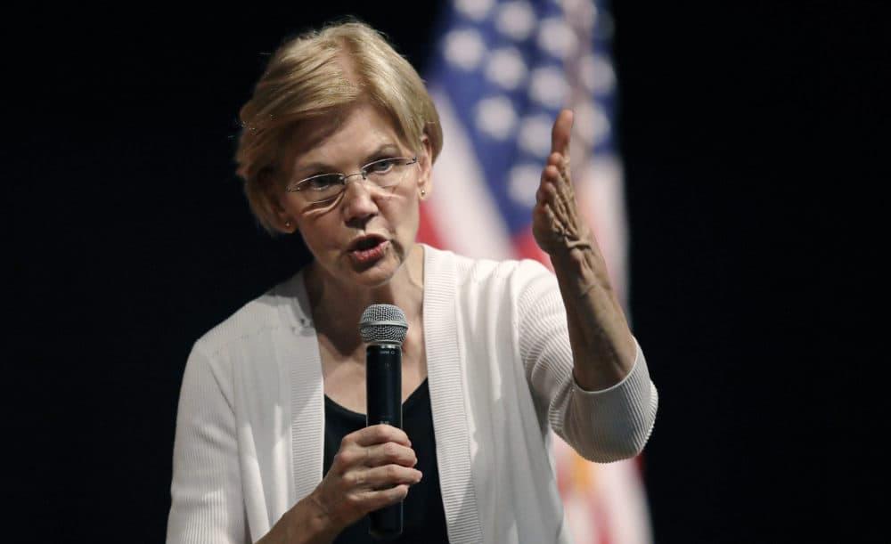 U.S. Sen. Elizabeth Warren, D-Mass., gestures during a town hall style gathering in Woburn, Mass. in August. (Charles Krupa/AP)
