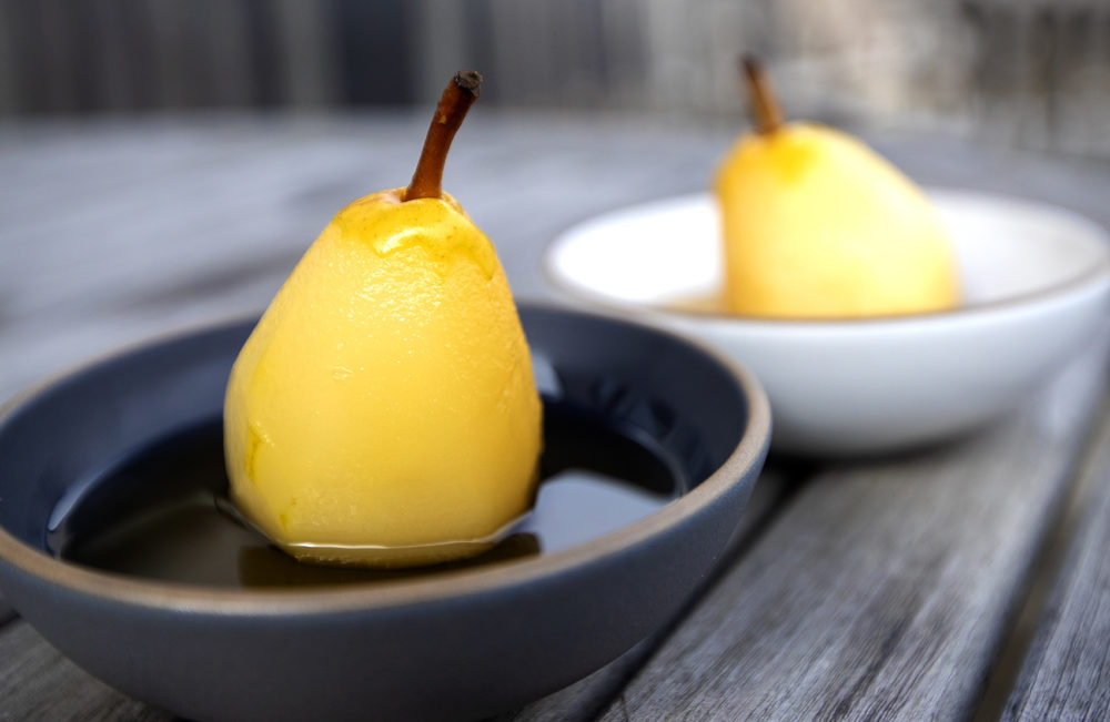 Poached pears with white wine-ginger syrup. (Jesse Costa/WBUR)