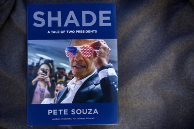 """Shade: A Tale of Two Presidents,"" by Pete Souza. (Robin Lubbock/WBUR)"