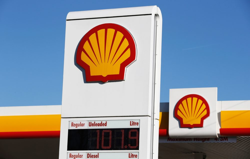 Shell logos are pictured outside a Royal Dutch Shell petrol station in Hook, near Basingstoke, England. (Adrian Dennis/AFP/Getty Images)
