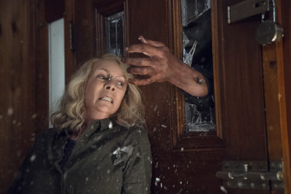 "Jamie Lee Curtis in a scene from ""Halloween."" (Ryan Green/Universal Pictures via AP)"