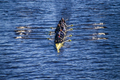Rowers train on the Charles River two days before the Head of the Charles Regatta. (Jesse Costa/WBUR)