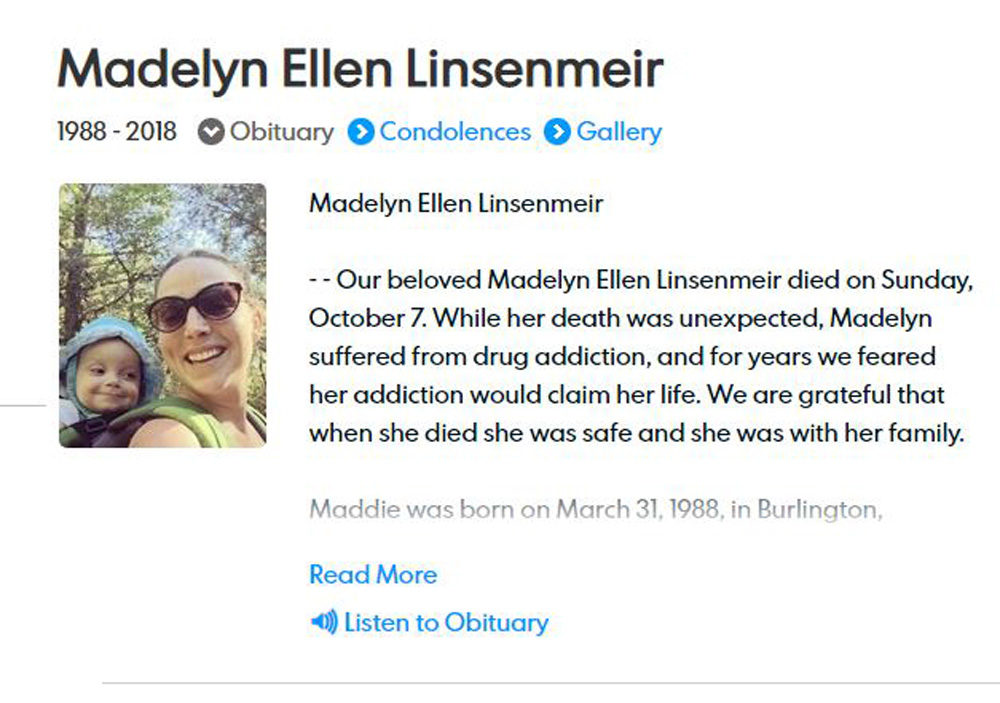 Screenshot of the obituary for Madelyn Ellen Linsenmeir.