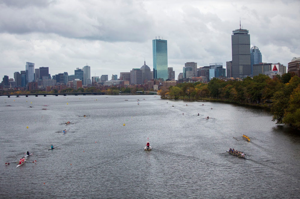 Rowers prepare for the Head of the Charles Regatta on Oct. 21. (Jesse Costa/WBUR)