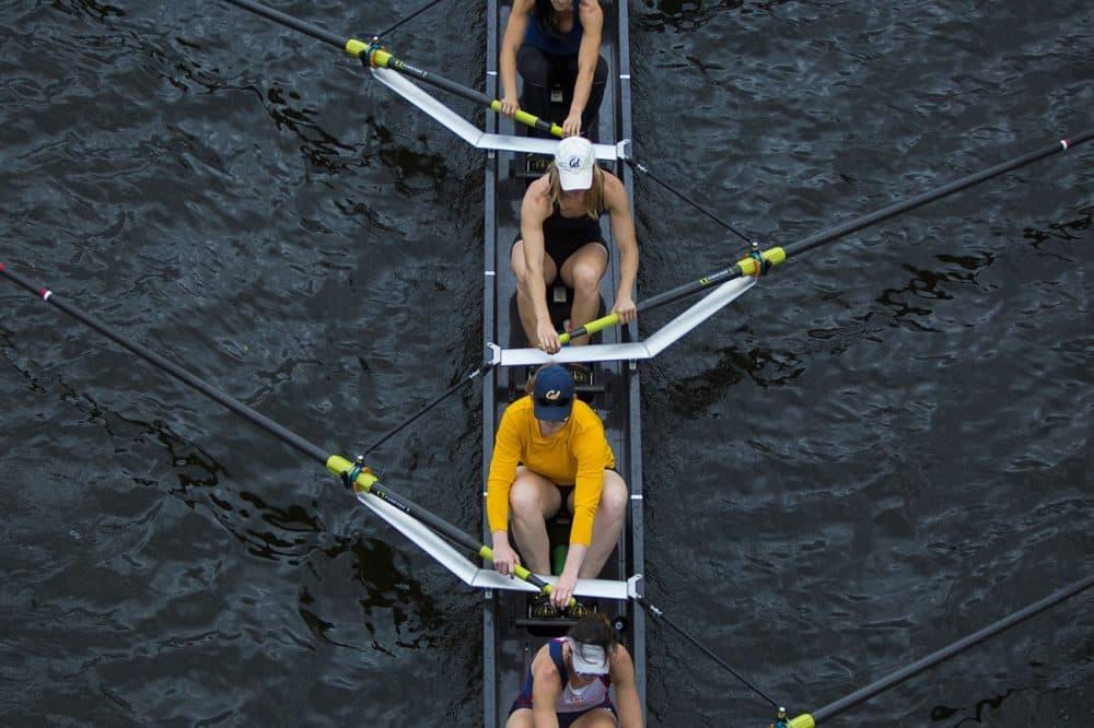 Rowing team from University of California training before the Head of the Charles Regatta. (Jesse Costa/WBUR)
