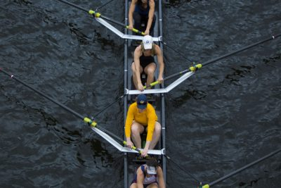 Rowing team from University of California training before the Head of the Charles Regatta. (Jesse Costa/WBUR)