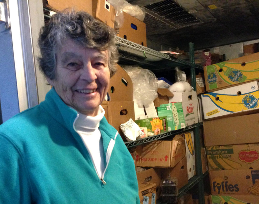 Mary Wheat launched and manages the food pantry. The pantry has grown so much the church bought a walk-in cooler and freezer. (Nancy Eve Cohen/NEPR)