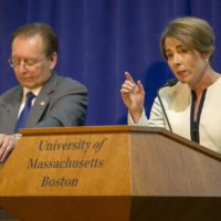 Jay McMahon and Maura Healey at a debate between candidates for Massachusetts attorney general at UMass Boston. (Robin Lubbock/WBUR)