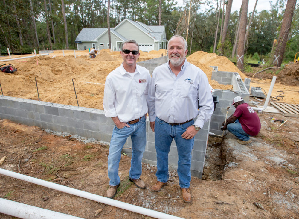 Doug Barton, left, of Barton Construction and Mark Kessler of Kessler Construction. (Mark Wallheiser for Here & Now)