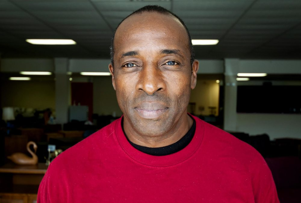 """""""I felt deprived, I felt ashamed, I felt ignorant,"""" felon Eddie Caine says of going to the polls on Election Day but being unable to vote. He's been out of prison since 2003. (Chris Bentley/Here & Now)"""