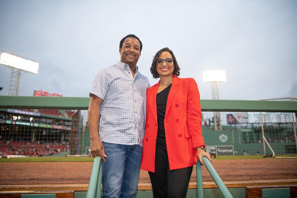 Pedro and Carolina Martinez at Fenway Park in Boston. (Courtesy Pedro Martinez Foundation)