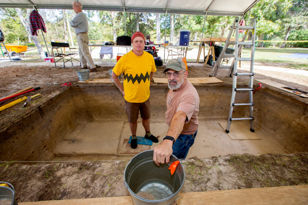 Andy Hemmings, left, and Tom Harmon, with the Aucilla Research Institute, during an excavation at Wakulla Springs State Park south of Tallahassee, Fla. (Mark Wallheiser for Here & Now)