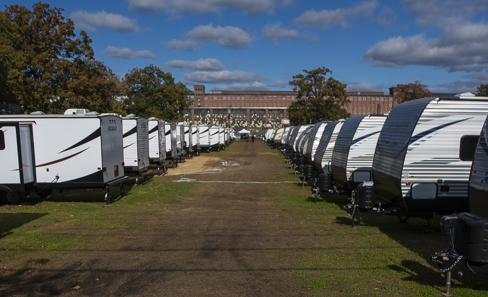 FEMA trailers at the O'Connell South Common in Lawrence are being used as alternative housing for people who were affected by the gas explosions in the Merrimack Valley. (Jesse Costa/WBUR)