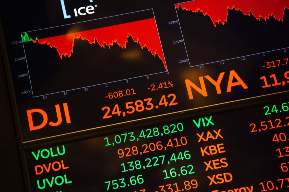 Numbers are displayed at the closing bell of the Dow Joes Industrial Average at the New York Stock Exchange on Oct. 24, 2018 in New York. U.S. stocks finished a punishing session sharply lower Wednesday. (Bryan R. Smith/AFP/Getty Images)