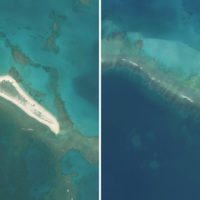 Hawaii's East island before Hurricane Walaka (left) and after (right). (Courtesy of Chip Fletcher)