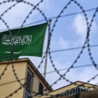 A Saudi Arabia flag behind barbed wires is seen in the backyard of the Saudi Arabian consulate on Oct. 11, 2018, in Istanbul. (Ozan Kose/AFP/Getty Images)