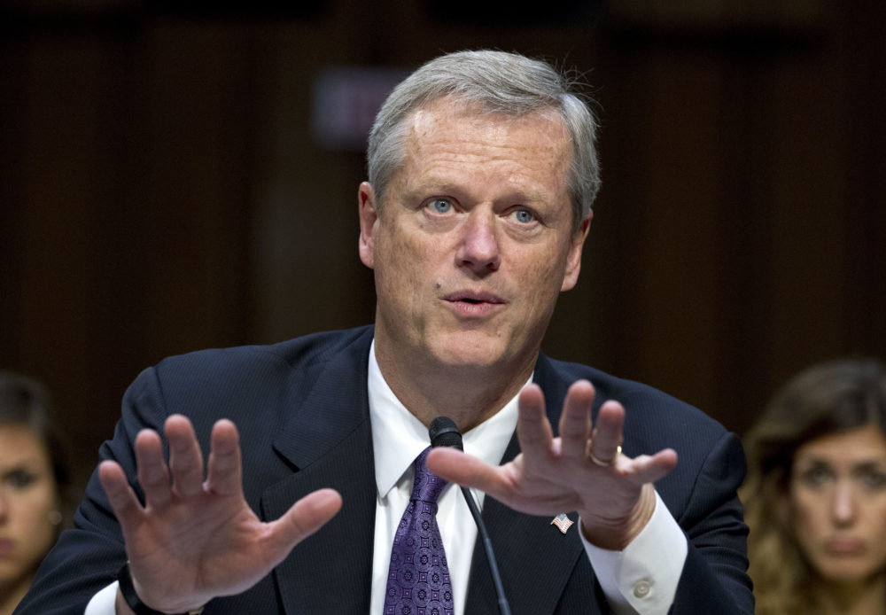 Gov. Charlie Baker at a Senate Health, Education, Labor, and Pensions Committee hearing on Capitol Hill in 2017. (Jose Luis Magana/AP)