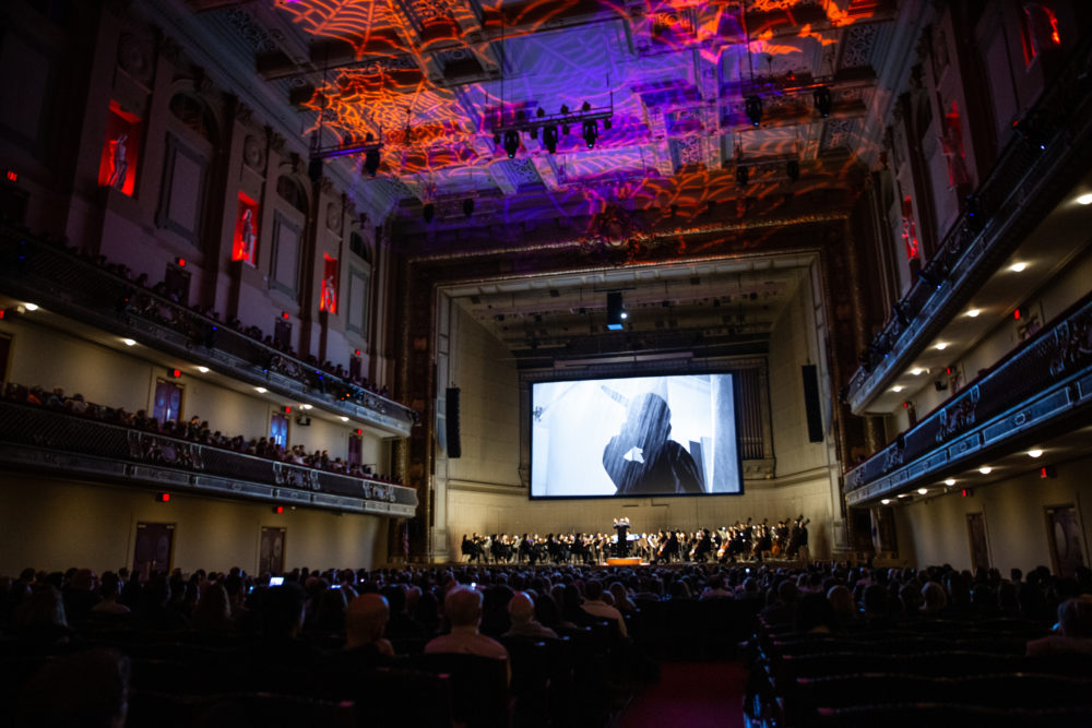 """Keith Lockhart leads the Boston Pops in """"Psycho"""" with film at Symphony Hall on Monday. The musicians are performing it again on Halloween. (Courtesy Aram Boghosian)"""