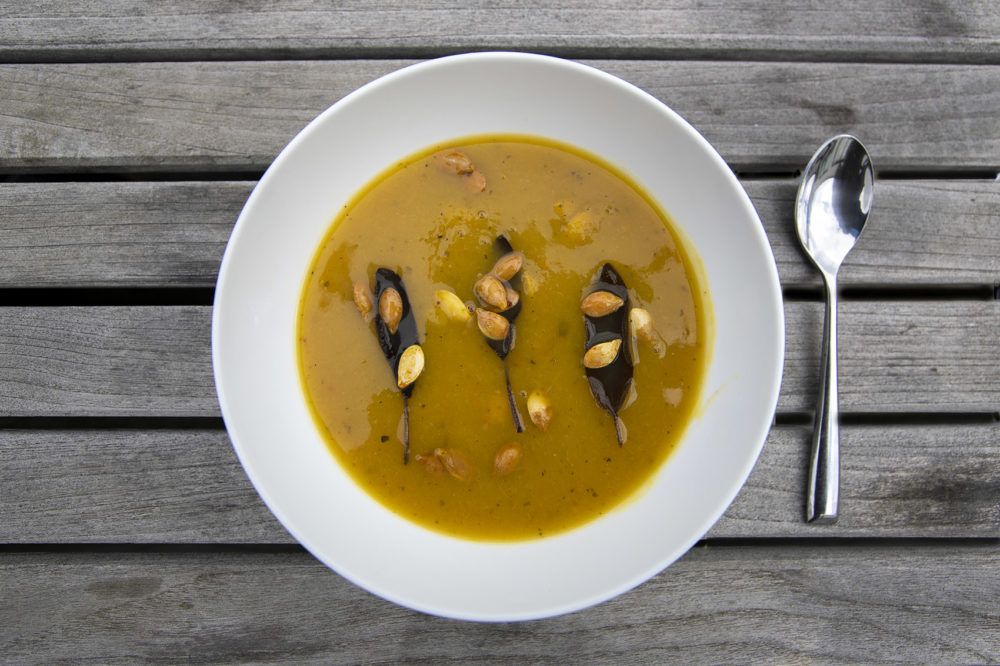 Pumpkin and leek soup with fried sage leaves. (Jesse Costa/WBUR)