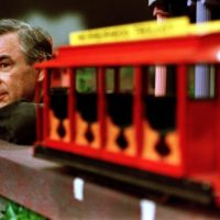 "Fred Rogers pauses during a May 27, 1993 taping of his show ""Mister Rogers' Neighborhood,"" in Pittsburgh. (Gene J. Puskar/AP)"
