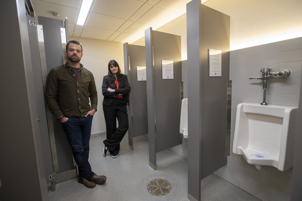 The American Repertory Theater has opened traditional men's and women's rooms for use by all. The theater also has single-user bathrooms for patrons who want another option. (Jesse Costa/WBUR)