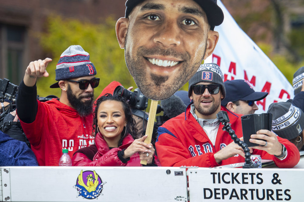 Red Sox Pitchers David Price and Nathan Eovaldi celebrate as the Red Sox Rolling Rally makes it's way through Copley Square. (Jesse Costa/WBUR)