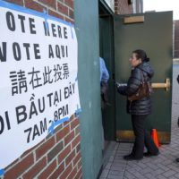2016 voters in line outside East Boston High School (Robin Lubbock/WBUR)