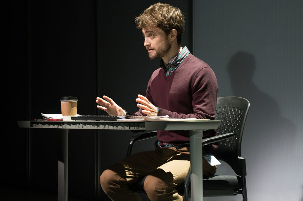 "In the new Broadway play ""The Lifespan of a Fact,"" Daniel Radcliffe plays a zealous young fact checker who gets locked in battle with an essayist over what defines a fact. (Courtesy of Peter Cunningham)"
