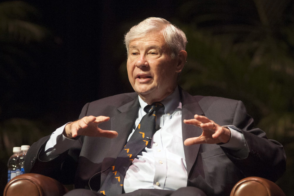FILE - In this Oct. 12, 2012, file photo Bob Graham speaks in Gainesville, Fla. (AP Photo/Phil Sandlin, File)