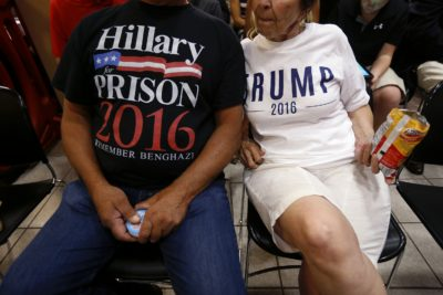 Ron Capitena, left, and Celeste Corbissero, of Ashtabula, Ohio, wear anti-Hillary Clinton and pro-Trump shirts as they wait for Donald Trump to deliver remarks in Youngstown, Ohio, Monday, Aug. 15, 2016. (Gerald Herbert/AP)