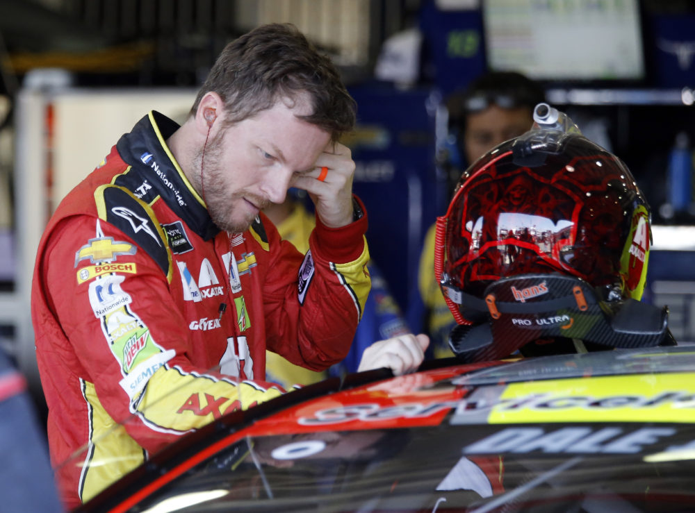 Dale Earnhardt Jr., gets ready to go out for the opening practice session for the NASCAR auto race at Auto Club Speedway in Fontana, Calif., Friday, March 24, 2017. (Alex Gallardo/AP)
