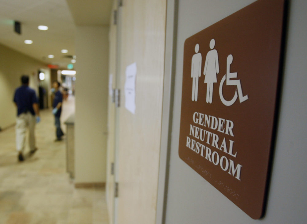 In this Aug. 23, 2007, file photo, a sign marks the entrance to a gender-neutral restroom at the University of Vermont in Burlington, Vt. (Toby Talbot/AP)