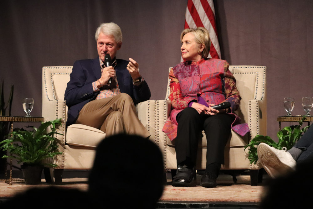 Accompanied by his wife, Hillary Clinton, former President Bill Clinton speaks at a gathering in Little Rock, Ark., on Saturday, Nov. 18, 2017, marking 25 years since his election. (Kelly P. Kissel/AP)