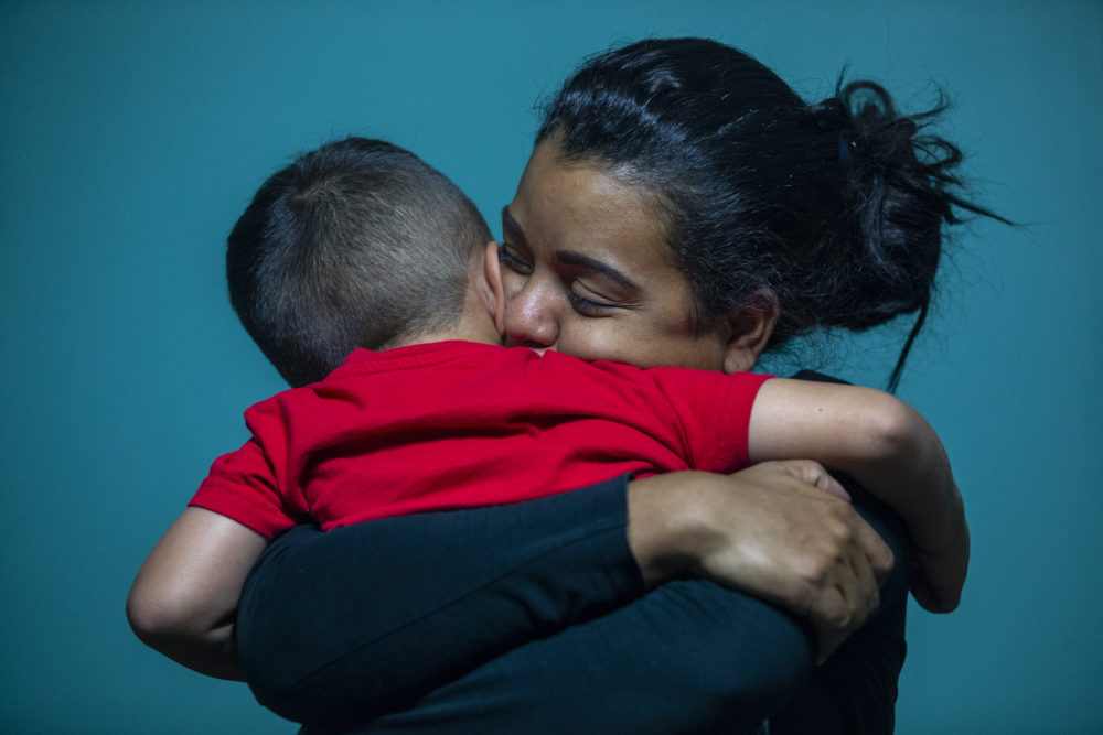 In this July 26, 2018 photo, Evelyn Zepeda cares for a four-year-old boy at her home in Austin, Texas. The boy's adoptive mother and Zepeda's biological mother, Josefina Ortiz Corrales, remains in an immigration detention center in south Texas, while Zepeda cares for her adopted son. (Stephen Spillman/AP)