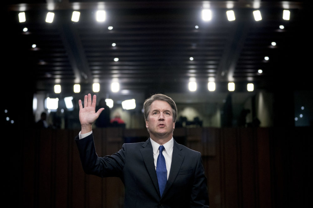 President Trump's Supreme Court nominee, Brett Kavanaugh, is sworn-in before the Senate Judiciary Committee on Sept. 4. (Andrew Harnik/AP)