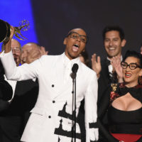 "RuPaul Charles, front center, and the team from ""RuPaul's Drag Race"" accept the award for outstanding reality/competition program at the 70th Primetime Emmy Awards on Monday, Sept. 17, 2018, at the Microsoft Theater in Los Angeles. (Photo by Phil McCarten/Invision for the Television Academy/AP Images)"