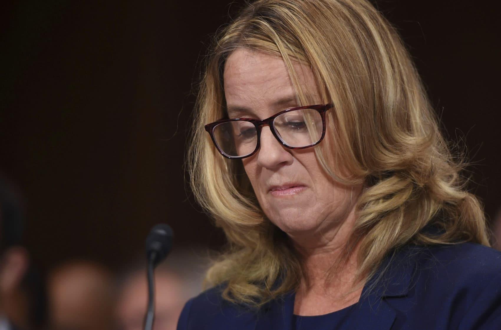 Christine Blasey Ford testifies to the Senate Judiciary Committee on Capitol Hill in Washington, Thursday, Sept. 27, 2018. (Saul Loeb/Pool Photo/AP)