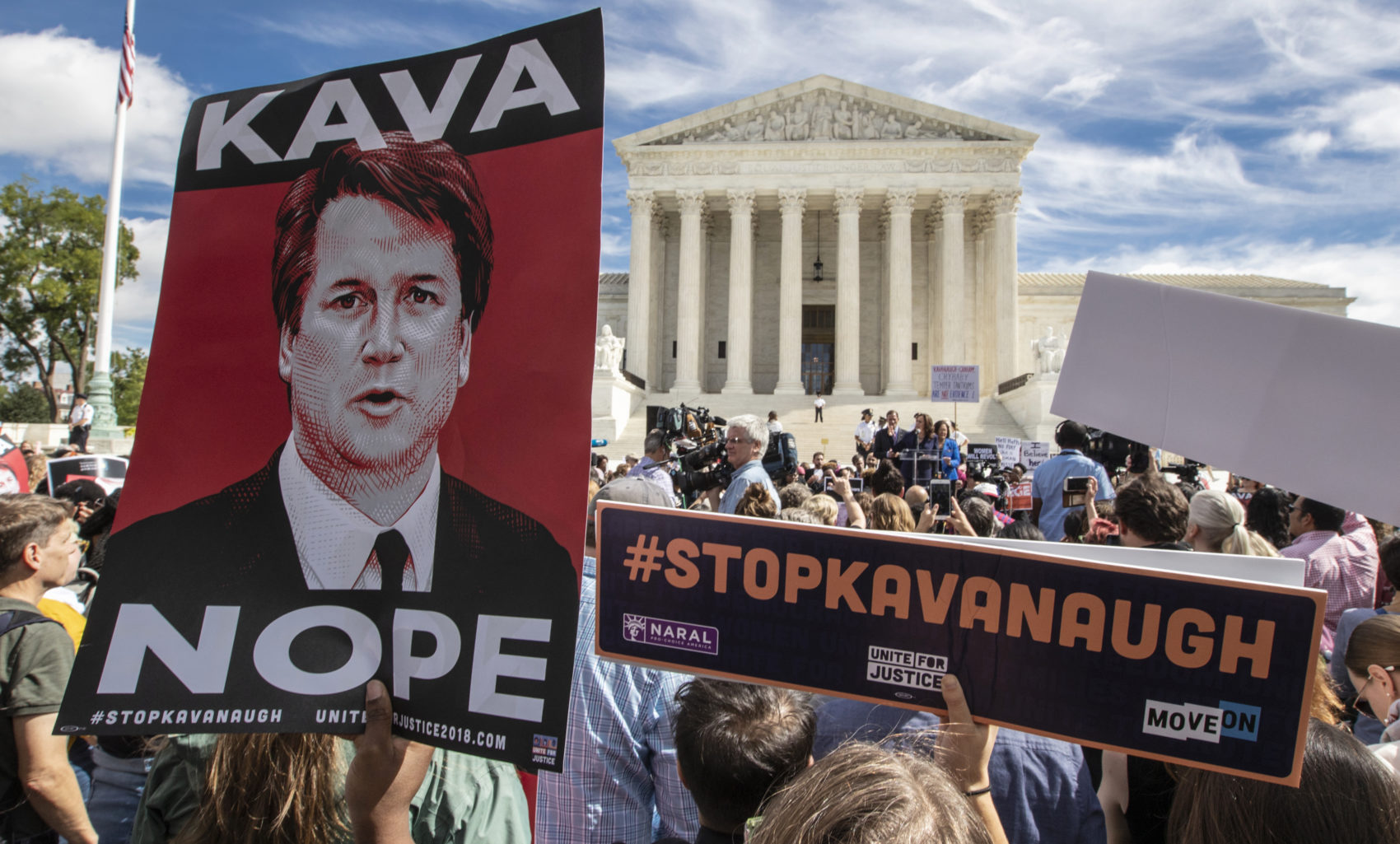 Protesters rally against Supreme Court nominee Brett Kavanaugh as the Senate Judiciary Committee debates his confirmation, Friday, Sept. 28, 2018, at the Supreme Court in Washington. (J. Scott Applewhite/AP)