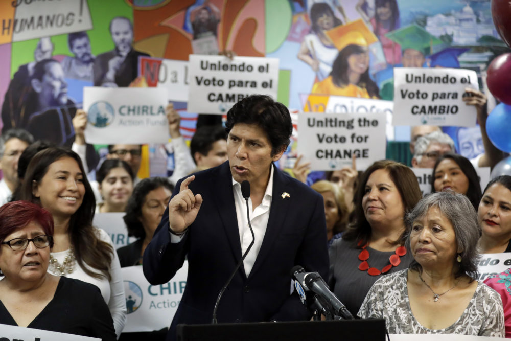 State Sen. Kevin de Leon, D-Los Angeles, speaks during a campaign stop at CHIRLA Action Fund headquarters in Los Angeles. De Leon is running for U.S. Senate against incumbent Dianne Feinstein. (AP Photo/Marcio Jose Sanchez, File)