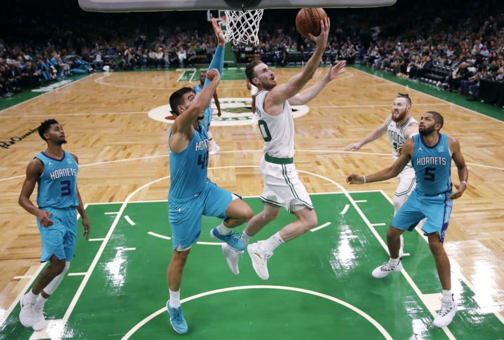 Celtics forward Gordon Hayward, seen here during a preseason game, is back after his season-ending injury last year. (Charles Krupa/AP)