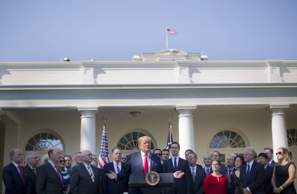 President Donald Trump speaks as he announces a revamped North American free trade deal, in the Rose Garden of the White House in Washington, Monday, Oct. 1, 2018. (Pablo Martinez Monsivais/AP)