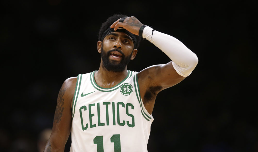 Boston Celtics guard Kyrie Irving during the first quarter of a preseason basketball game in Boston, Sunday, Sept. 30, 2018. (AP Photo/Charles Krupa)