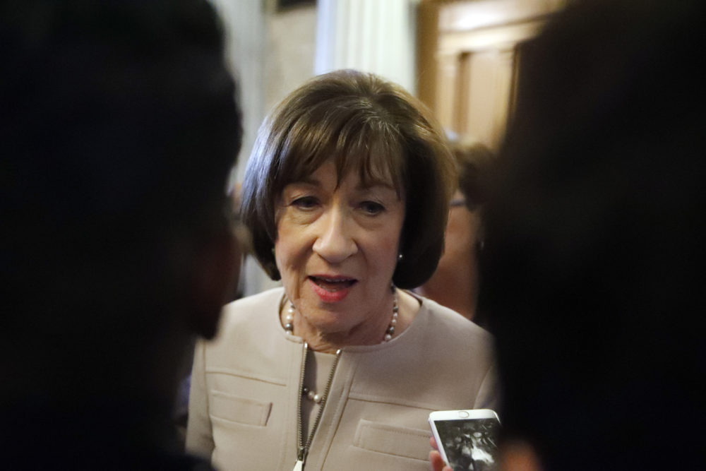 Sen. Susan Collins, R-Maine, talks with reporters after speaking on the Senate floor, on Capitol Hill, Friday, Oct. 5, 2018 in Washington about her vote on Supreme Court nominee Judge Brett Kavanaugh.  (Alex Brandon/AP)