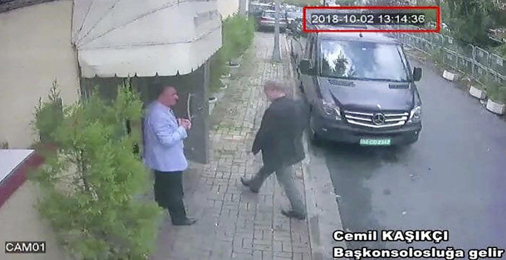 This image taken from CCTV video obtained by the Turkish newspaper Hurriyet and made available on Tuesday, Oct. 9, 2018 claims to show Saudi journalist Jamal Khashoggi entering the Saudi consulate in Istanbul, Tuesday, Oct. 2, 2018. (CCTV/Hurriyet via AP)