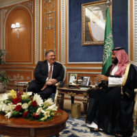 U.S. Secretary of State Mike Pompeo meets with the Saudi Crown Prince Mohammed bin Salman in Riyadh, Saudi Arabia, Tuesday Oct. 16, 2018. Pompeo also met on Tuesday with Saudi King Salman over the disappearance and alleged slaying of Saudi writer Jamal Khashoggi, who vanished two weeks ago during a visit to the Saudi Consulate in Istanbul. (Leah Millis/Pool via AP)