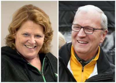 North Dakota Senate candidates: Democratic Sen. Heidi Heitkamp, left, during a campaign stop in Grand Forks, and her Republican challenger Kevin Cramer at a campaign stop in Fargo. (Bruce Crummy/AP)